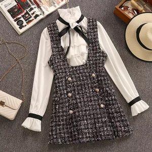 2 Pc Tweed Dress + Bell Sleeve Button Up Set